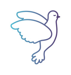 pigeon peace flying in side view on gradient color vector image vector image