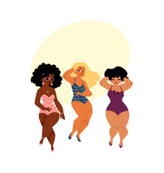 Plump curvy women girls plus size models in vector