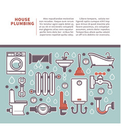 Professional house plumbing homepage vector