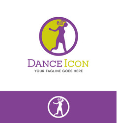 retro dancing girl logo vector image