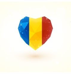 Romanian flag in shape diamond glass heart vector