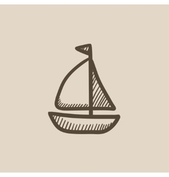 Sailboat sketch icon vector image