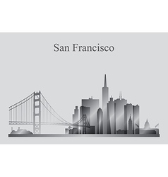 San Francisco city skyline silhouette in grayscale vector image