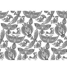 Seamless pattern with hand drawn fancy birds in vector image vector image