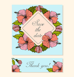 Set of cards with hibiscus floral motifs vector