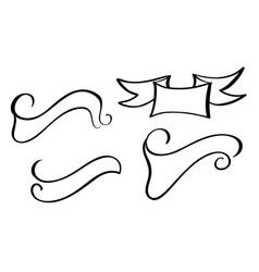 set vintage ribbon banner hand drawing vector image vector image