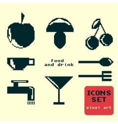 Silhouettes of pixel icons food and drink vector image vector image