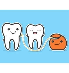 Teeth and dental floss vector