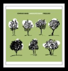 Tree set and logo vector image