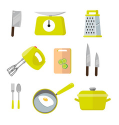 Vintage kitchen colorful tools set of tools for vector