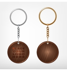 Wooden and metal oval keychain vector