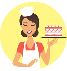 Young girl confectioner vector image vector image