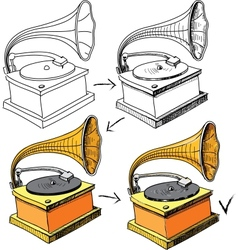 Vintage gramophone sketching progress vector