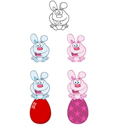 Bunny sitting on an egg collection vector