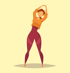 Woman or girl doing stretch exercise at gym vector