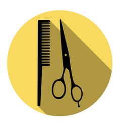Barber shop sign  flat black icon with vector
