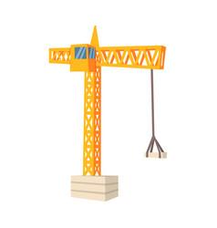 Yellow hoisting crane colorful cartoon vector