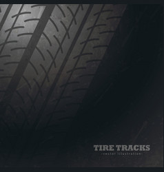 Dark background with tire tracks marks vector