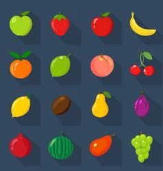 set of flat icons fresh natural fruits dark vector image