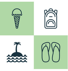 Tourism icons set collection of rucksack frozen vector