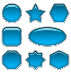 Blue glass buttons set vector image