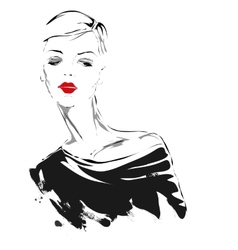 Modern girl sketch red lips vector