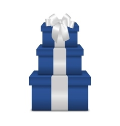 Stack of three realistic blue gift boxes with vector image