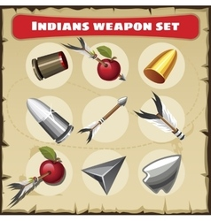 Indians traditional weapon set vector
