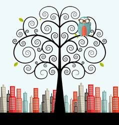 Owl on curled tree with city on background flat vector