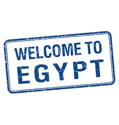Welcome to egypt blue grunge square stamp vector