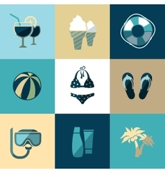 Summer vacation and beach flat icons vector