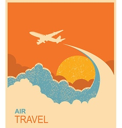 Airplane flying in sky air travel background vector
