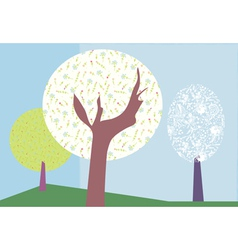 Abstract trees backround vector