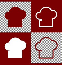 Chef cap sign bordo and white icons and vector
