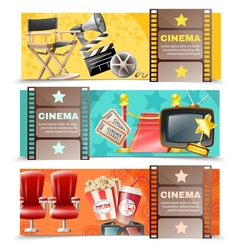 Cinema movie 3 horizontal retro banners vector
