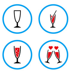 cocktail glass rounded icons vector image vector image