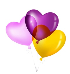 Colorful heart shape balloons yellow pink and vector