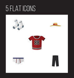 Flat clothes set of t-shirt elegant headgear vector
