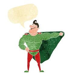 Funny cartoon superhero with speech bubble vector