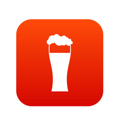 glass of beer icon digital red vector image vector image
