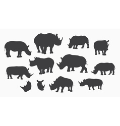 gray rhino silhouettes vector image vector image