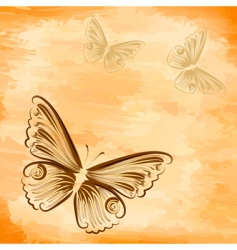 grunge background with a butterfly vector image vector image