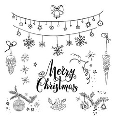 Happy christmas sketch set vector