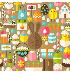 Happy Easter Holiday Flat Light Brown Seamless vector image vector image