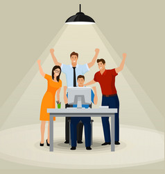 happy office workers looking at his computer vector image