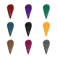 ice cream on the waffle cone icon in black style vector image vector image