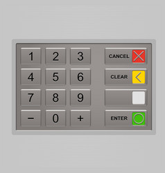 Keypad of automated teller machine vector