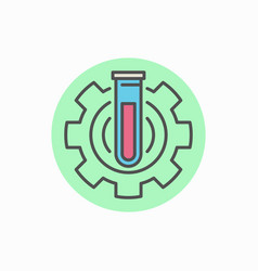 laboratory tube in gear icon vector image vector image