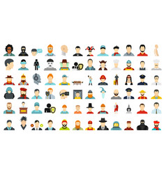 man avatar icon set flat style vector image