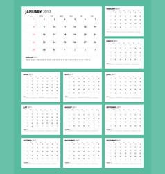 Minimalist calendar 2017 vector